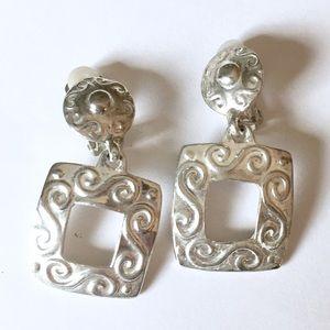 Vintage Silver Swirl dangle clip on earrings